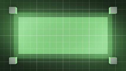 moving 3D cubes, loop BG, green