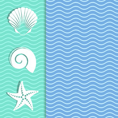Card with sea icons