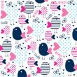 cute bird pattern vector illustration