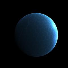 Blue Techno Moon - design element
