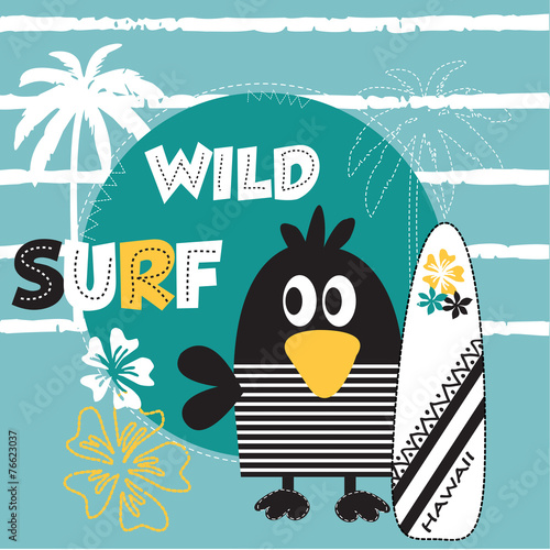surfer bird on the beach striped background vector illustration © yoliana
