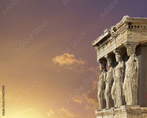 Tuinposter Athene Caryatids, erechtheum temple on Acropolis of Athens, Greece
