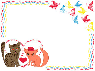 Romantic cat and kitty on Valentine greeting card