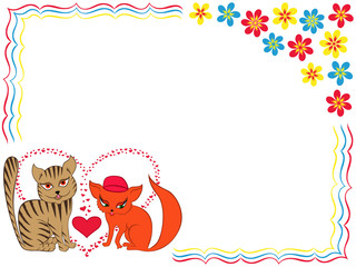 Enamoured cat and kitty on Valentine greeting card