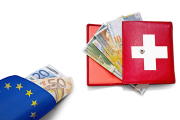 Swiss franc Euro wallets banner