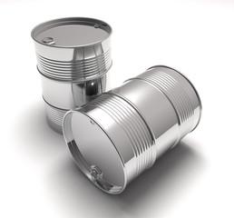 unpainted metal barrel