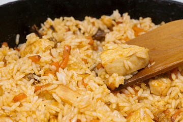 Frying pan with pilaf