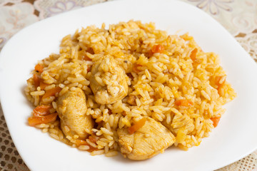 Plate with delicious pilaf