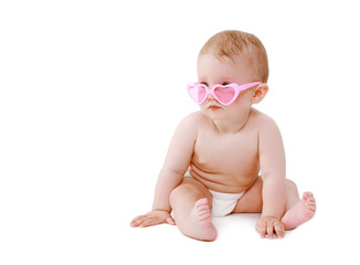 Cute sweet baby sitting in glamour glasses