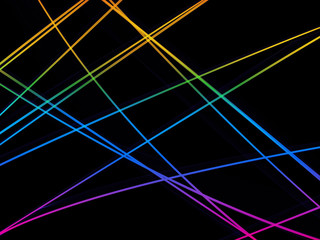 Abstract colorful motion graphic lines on black background