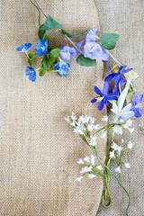 handmade flower on sackcloth background