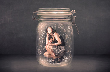 Business woman captured in glass jar with hand drawn media icons