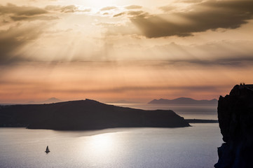 Beautiful sunset on Santorini island, Greece