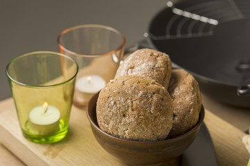 Sweet Bread on Bowl Beside Glasses
