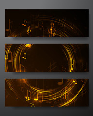 set abstract  music banners