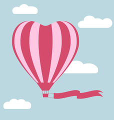 Flat hot air balloon in the shape of a heart with flag isolated
