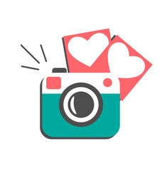 Love flat photo camera with hearts photo frames isolated on whit