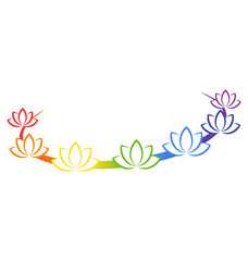 Yoga emblem with abstract chakra lotuses isolated on white backg