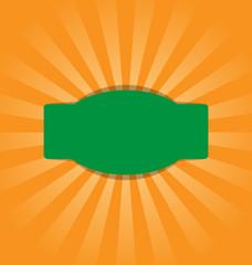 Radial stripes on orange background with green frame