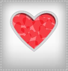 Heart cutout in gray card
