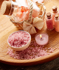 Spa still life with pink sea salt