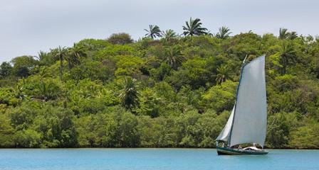 Handgemachtes Segelboot aus Holz in Brasiliens Urwald