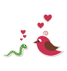 Cute loving worm and bird isolated on white background