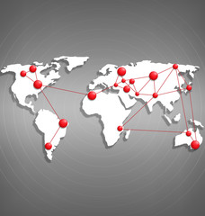 World map with red point marks on grayscale background
