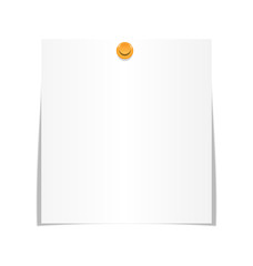 White paper sheet for memo with pin isolated on white background