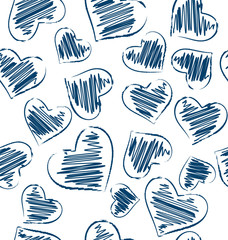 Seamless pattern of hand-drawn hearts isolated on white backgrou