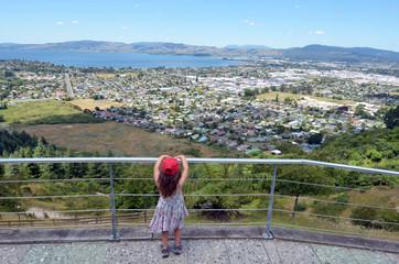 Aerial view of Rotorua city, New Zealand.