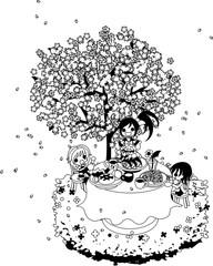 綺麗な桜の下で、ハンバーグやシーフード、スパゲティを食べながら、お花見を楽しみましょう。
