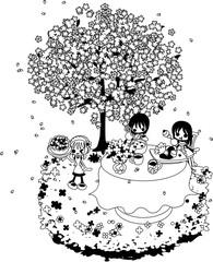 綺麗な桜の下で、スープやシーフード、果実のパイを食べながら、お花見を楽しみましょう。