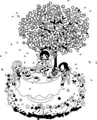 綺麗な桜の下で、ケーキを食べながら、お花見を楽しみましょう。