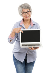 Elderly woman showing something on a laptop