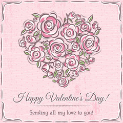 valentine card with heart of flowers and wishes text,  vector