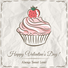 valentine card with  strawberry cupcake ,  vector