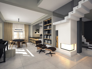 modern interior in soothing tones 3D rendering