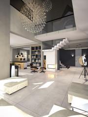 modern interior in soothing tones 3D rendering