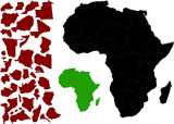 mapa afriky vektoru s různými možnostmi obrysy