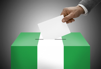 Ballot box painted into national flag colors - Nigeria