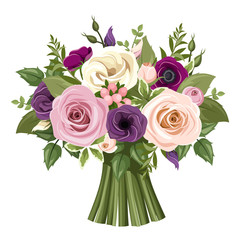 Bouquet of colorful roses and lisianthus flowers. Vector.