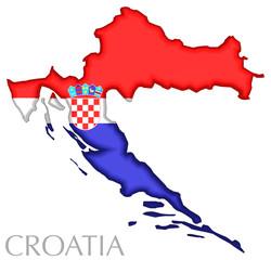 Map and flag of Croatia
