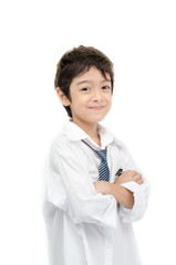 Little boy portrait white shirt on white background