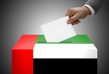 Ballot box painted into flag colors - United Arab Emirates