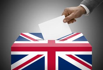 Ballot box painted into national flag colors - United Kingdom