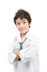 Little boy portrait white shirt on white background