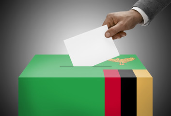 Ballot box painted into national flag colors - Zambia