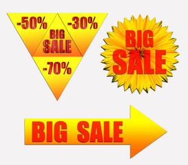 Set with text BIG SALE