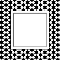 Black and White Hexagon Background with Frame